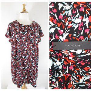 Tahari Plus Size Red Black Floral Shift Dress 3X